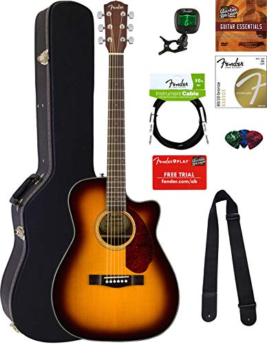 Fender CC-140SCE Concert Acoustic-Electric Guitar - Sunburst Bundle with Hard Case, Cable, Tuner, Strap, Strings, Picks, Austin Bazaar Instructional DVD, and Polishing Cloth, Sunburst w/ Hard Case (Electric Guitar Cables Acoustic)