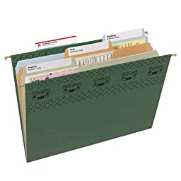 Smead TUFF Hanging File Folder with Easy Slide Tab, 1/3-Cut Sliding Tab, Letter Size, Standard Green, 20 per Box  (64036)