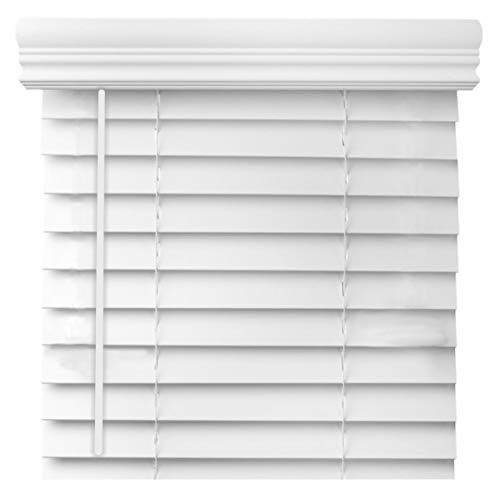 Cordless 2 Inch Faux Wood Blind – Custom Made – White and Printed Real Grain Colors (48 1/8″ Thru 54″, 36 1/8″ Thru 48″)
