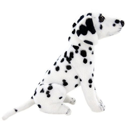 JESONN Lifelike Stuffed Animals Toys Sitting Dog Plush (Dalmatian, 12 Inches)]()