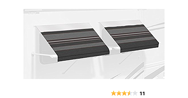 Carefree IE0507A00 SL Premium Charcoal 5.0 Long RV Camper Complete Window Awning with White Arms Charcoal Stripe with White Wrap and Red Tenera Thread
