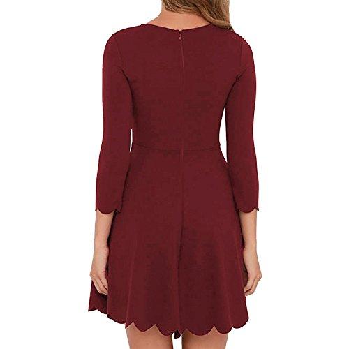 MRstriver Women's O-neck 3/4 Sleeve Pleated Tunic Wavy Skater Dress Wine RedMedium -
