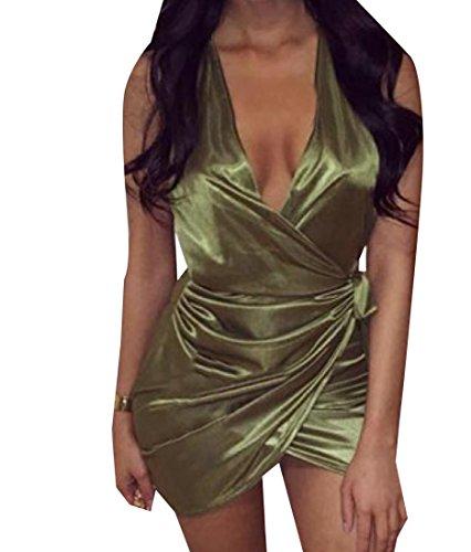 Sans Manches Des Femmes Coolred V-cou Couleur Pure Sexy Partie De Vert Robe