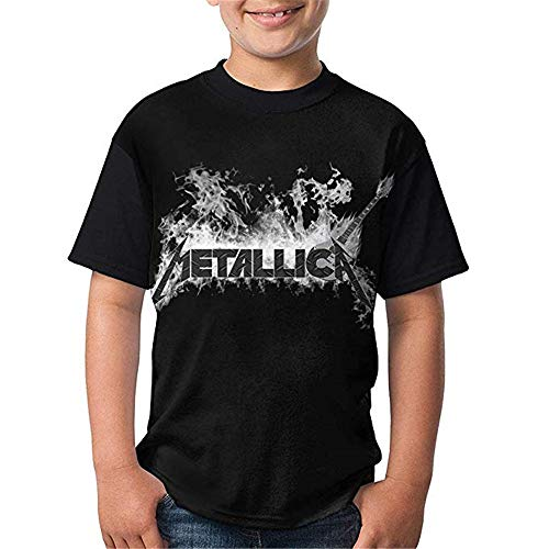 Metallicas Casual T-Shirts Youth Short Sleeve Tops for Boy Girl Kid1 Black