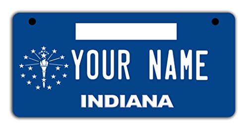 BleuReign(TM Personalized Custom Name Indiana State Motorcycle Moped Golf Cart License Plate Auto -