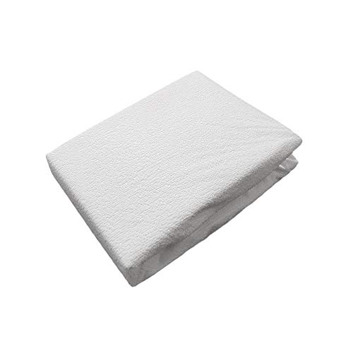 Mattress Towelling Protector (LUXURY SUPERSOFT BABY INFANT CHILD WHITE TOWELLING COT BED WATERPROOF MATTRESS PROTECTOR 60 X 120CM - 24