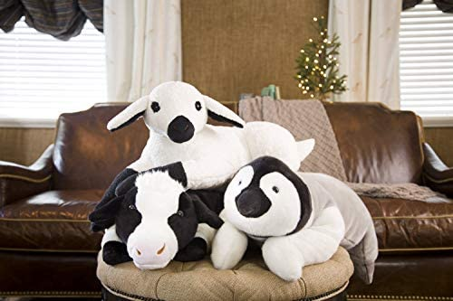 Cow Body Pillow Fur Beaded Eyes Tufted
