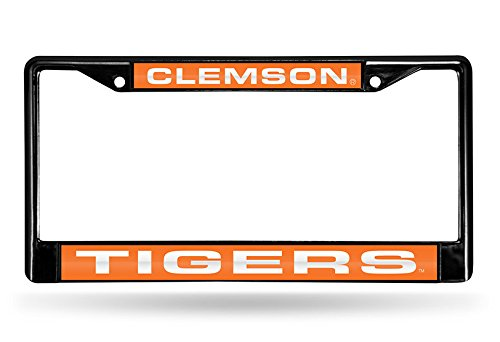 (Rico Industries NCAA Clemson Tigers Laser Cut Inlaid Standard Chrome License Plate Frame, 6