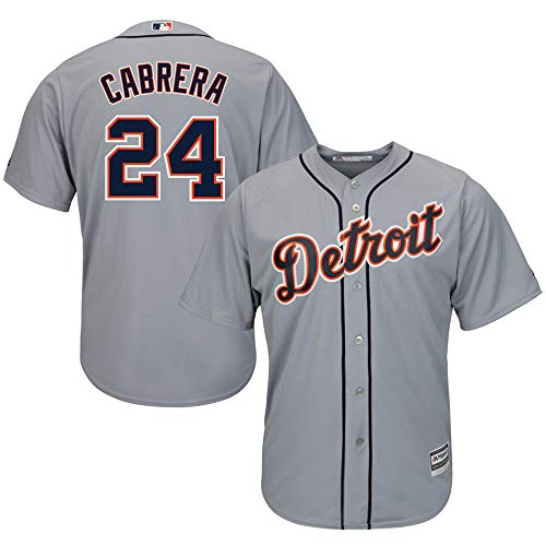 VF Miguel Cabrera Detroit Tigers #24 Home Cool Base Player Jersey T-Shirt Team Sportswear Uniform for Men Women Youth Boys ()