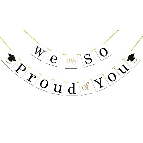 Graduation Banner, Konsait We are So Proud of You Bunting Banner Garland Pennant Sign with Graduation Cap Symbol for Graduation Gift Party Home Decorations Favors Supplies ()