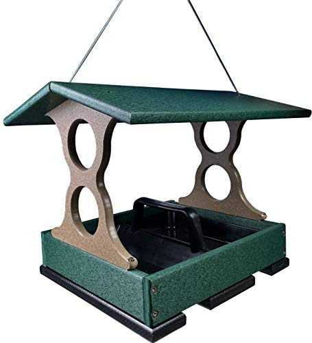 JCs Wildlife Medium Green/Tan Poly Fly-Thru Bird Feeder w/ Removable Seed Tray