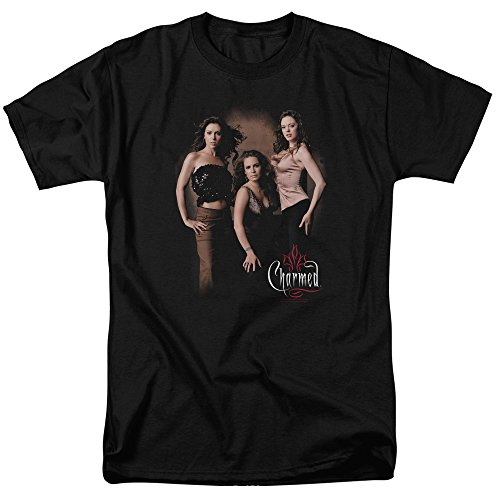 Charmed TV Show Wb Three Hot Witches Adult Mens T-Shirt Tee Black