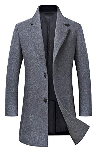 Men's Trench Coat Wool Blend Slim Fit Jacket Single Breasted Business Top Coat 18577 Grey ()