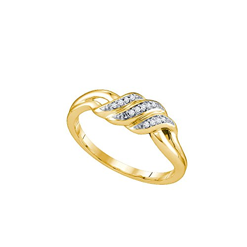 10kt Yellow Gold Womens Round Diamond Triple Row Simple Crossover Band 1/20 Cttw by JawaFashion