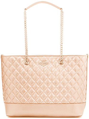LOVE MOSCHINO Diamond Quilted Logo Shoulder Tote Bag, Rose Gold (Denim And Diamonds Outfit Ideas)