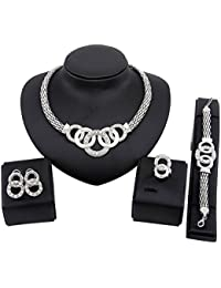 4 PCS Jewelry Set Crystal Circle Teardrop Cat Necklace...