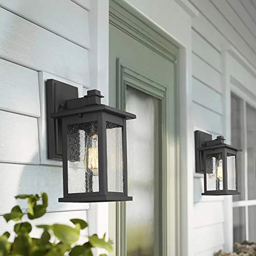 Emliviar Outdoor Wall Mount Lights 2 Pack, 1-Light Exterior Sconces Lantern in Black Finish with Clear Seeded Glass, OS-1803EW1-2PK by EMLIVIAR (Image #3)