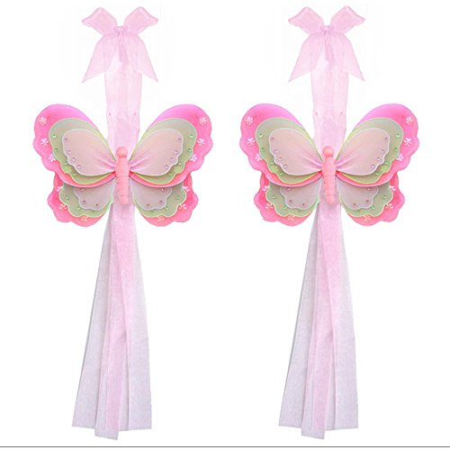 Back Curtain Butterfly Tie - Butterfly Curtain Tiebacks Dark Pink Green Pink Triple Layered Nylon Butterflies Pair Set Decorations Window Treatment Holdback Sheer Drapes Holder Drapery Tie Back Baby Nursery Bedroom Girl Room Home