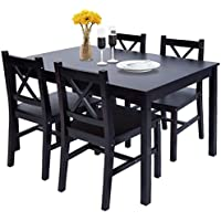 Merax Solid Wood Dining Table with 4 Chairs, Kitchen...