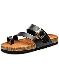 Orlancy Women's Toe Ring Flat Slippers Beach Slide Sandals