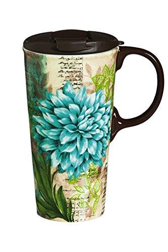 (Cypress Home Turquoise Dahlia Ceramic Travel Coffee Mug, 17 ounces)