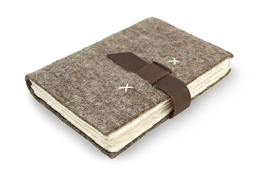 Nepali Traveler Vintage Journal with Handmade Wool Felt and Lokta Paper, 5 x8 inch Notebook, Made in The Himalayas of Nepal, Nature