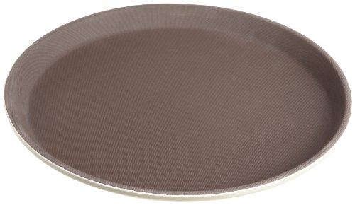 Stanton Trading Non Skid Rubber Lined 14-Inch Plastic Round Economy Serving Tray, Tan