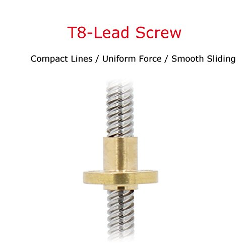 Drillpro 400mm 8mm Lead Screw ACME Lead Screw and Nut for 3D