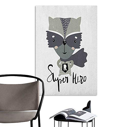 Art Decor 3D Wall Mural Wallpaper Stickers Nursery Cartoon Style Raccoon Super Hero with a Costume and Cape Childish Animal Design Multicolor Living Room Wall W24 x H36 -