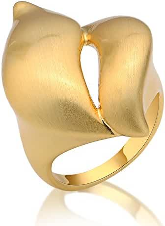 Mytys Special Unisex 18k Yellow Gold Plated Punk Metal Marquise Shape Cocktail Rings