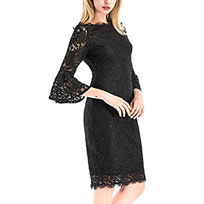 New Yomoko Women Retro Off Shoulder Floral Lace Dress Knee Length Trumpet Sleeve Cocktail Dresses supplier
