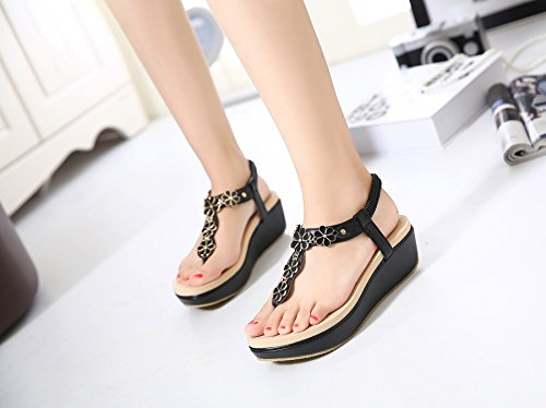 à Height Korean Heel Black forme 2 Y de 1in la Sandales mode en Hasp ElasticAxido AWqAdf