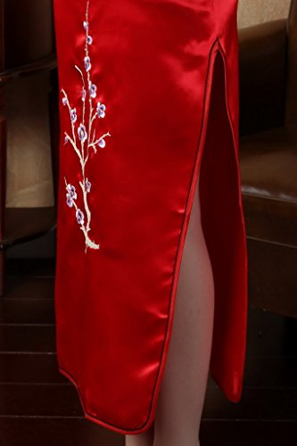 JTC Women's Flower Embroidered Chinese Long Qipao Dresses 5 Colors (XL, Red) by Jtc (Image #6)