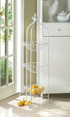 3 Tier Kitchen Corner Basket Floor Stand Storage And Decor, White by Kitchen Decor