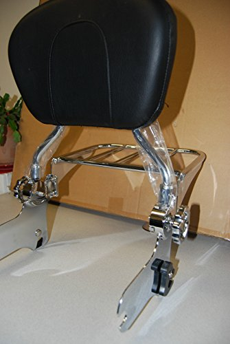 Wisdom Motorcycle Backrest sissy bar and flat luggage rack for Harley Davidson Touring Models 1997-2008 by Wisdom Motorcycle (Image #4)