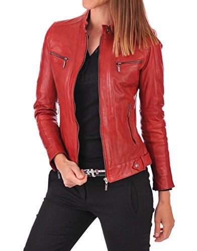 New Lambskin Leather Bomber Motorcycle Jacket X-Large Red ()