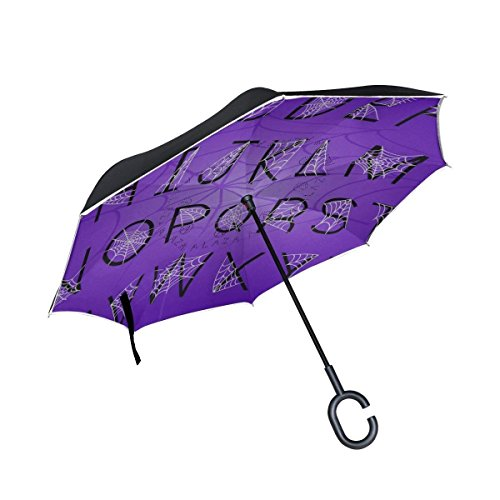 Halloween Alphabet Letters With Spider Web Inverted Umbrella Double Layer Windproof UV Protection Compact Car Reverse Umbrella ()