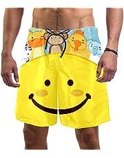 Smiling Face Happy Animals Swim Shorts for Men Swim Trunks Men's Bathing Suits Swimwear with Mesh Lining