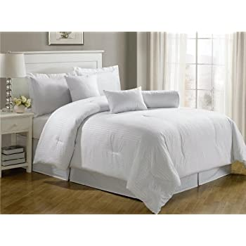 chezmoi collection 7piece hotel dobby stripe comforter set king white