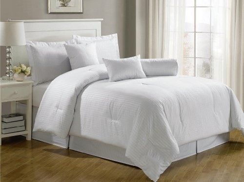 Contemporary Bedding Ensembles - Chezmoi Collection 7-Piece Hotel Dobby Stripe Comforter Set, Queen, White