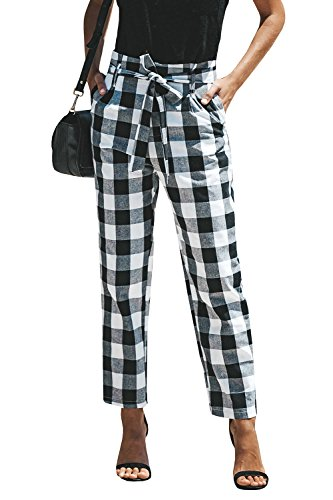 Cotton Plaid Trousers - Liyuandian Womens Summer Plaid Cropped Pants High Waisted Knot Casual Trousers with Pockets