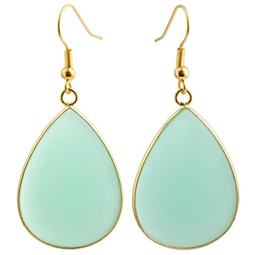 SUNYIK Women's Green Glass Teardrop Hook Dangle (Drop Glass Dangling Earrings)