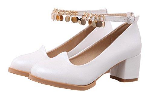 AgooLar Damen Blend-Materialien Mittler Absatz Schnalle Rein Pumps Schuhe Weiß