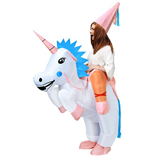 ANOTHERME Unicorn Rider Inflatable Costume for Adults Child Halloween Blow up Fancy Dress -