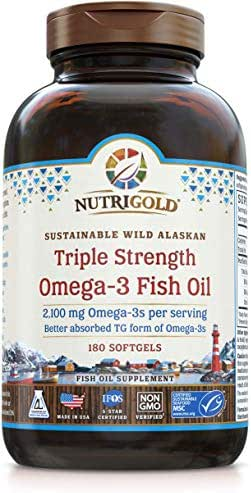 Triple Strength Omega-3 Fish Oil Supplement, Better Absorbed TG Form, Made in USA, 5-Star Certified, ConsumerLab Approved, Certified Sustainable