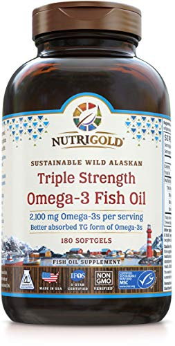 Nutrigold Triple Strength Omega-3 Fish Oil Supplement, 2100 mg, 180 Softgels (Best Value Fish Oil)