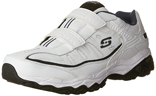 Skechers Men's AFTERBURN M.FIT- FIN Strike Memory Foam Velcro Sneaker, White/Navy, 14 4E US