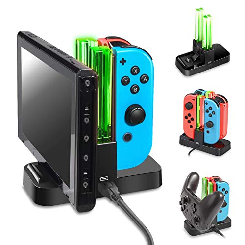 OIVO Controller Charger Compatible with Nintendo Switch,Charging Dock Station Compatible with Switch Joy-con and Pro Controller,Switch Remote Charger with Charging Indicators and Type C Charging Cable