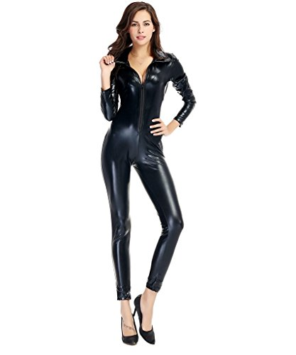 [Milkuu Unisex Solid Color Shiny Metallic Spandex Zentai Catsuit Black] (Spandex Suits)