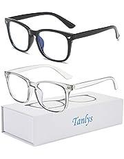 Tanlys 2 Pack Blue Light Blocking Glasses for Computer Eye Strain [Dry Eye & Sour Eye], Anti Bluelight Glasses Men Women